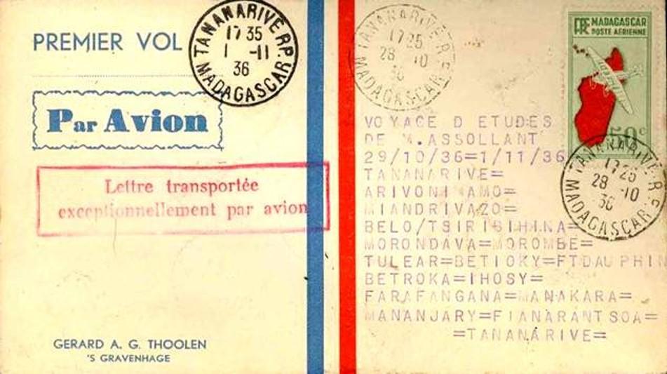 MORONDAVA COURRIER PREMIER VOL 28 OCTOBRE 1936