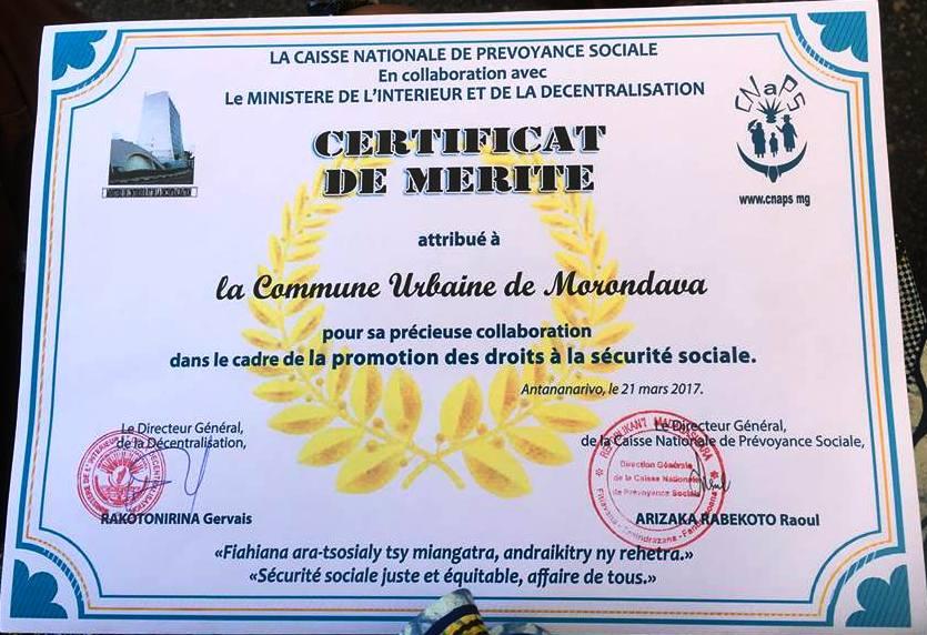 Certificat de mérite morondava