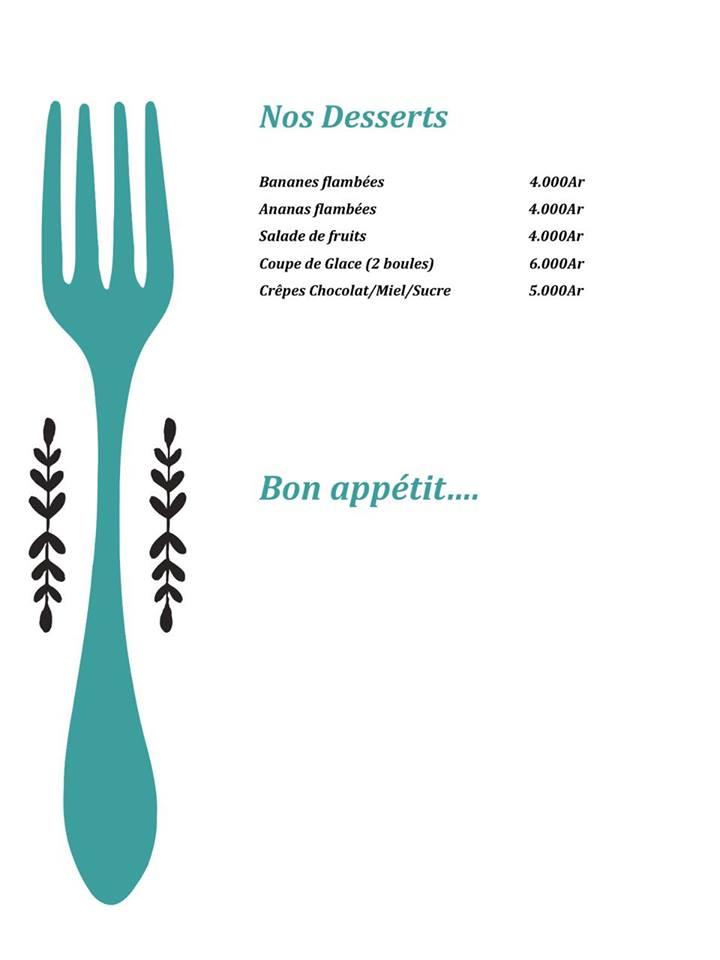 Cheval de mer menu desserts
