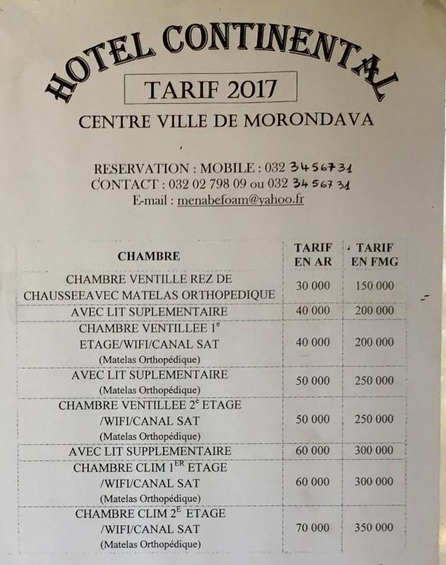 Hotel continental tarifs